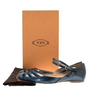 NEW Tod's Blue Patent Cutout Ankle Strap Ballet 6